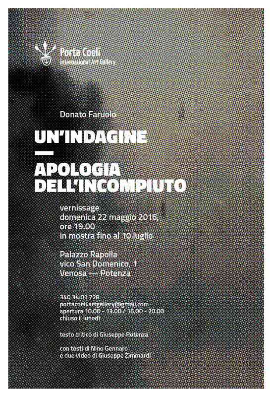"Porta Coeli International Art Gallery, in mostra Donato Faruolo in ""Un'indagine. Apologia dell'incompiuto"""